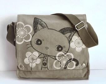 Kimono Kitty  Canvas Messenger Bag (KHAKI GREEN)