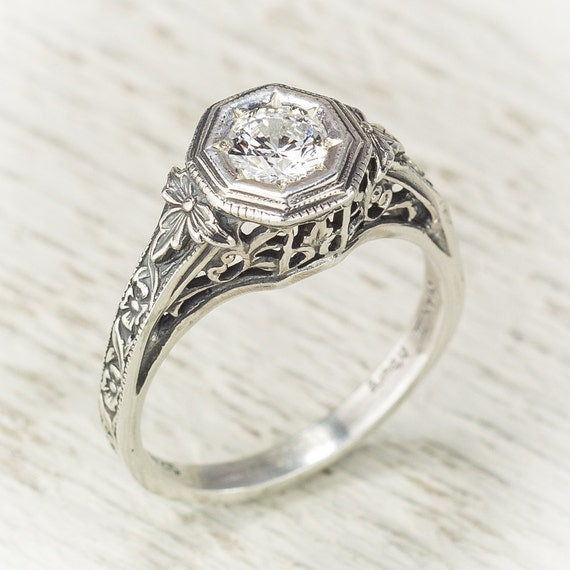 Items similar to Filigree Antique Vintage Engagement Diamond Ring on Etsy