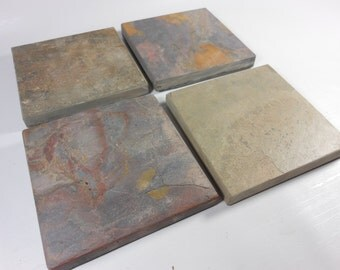 8 NATURAL SLATE COASTERS - Assorted Colors - Heavy, Absorbent, Work Great, Do Not Stick - Natural Stone Coasters for Drinks, Garden Decor