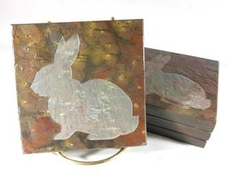 Stone Coasters: Rabbit Coasters - Carved Slate Coasters, Natural Drink Coasters, Bunny Coasters, Animal Coasters, Etched Slate Coasters Gift