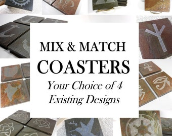 Stone Coasters: MIX-N-MATCH, Choose Up to 4 Existing Designs - 4 Hand Carved Slate Coasters, Custom Carved Coasters, Personalized Coasters