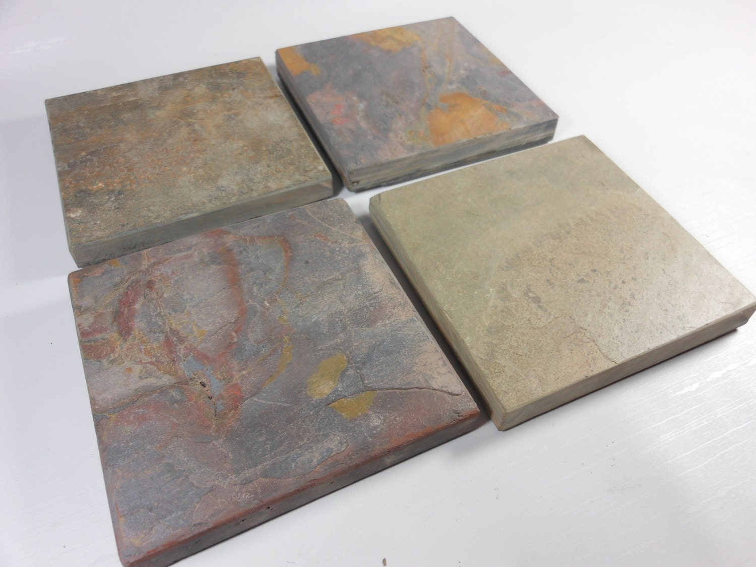 8 natural slate coasters assorted colors heavy absorbent - Stone absorbent coasters ...