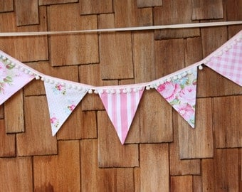 See First Image for Example Shabby Chic Pompom Trimmed Fabric Flag Bunting, Girls Banner 9 Large Flags. Garland Banner, Pink, White Poms
