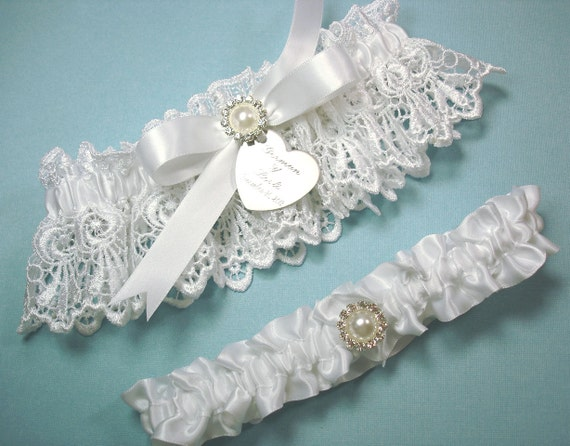 Personalized White Wedding Garter Set Bridal Garters With