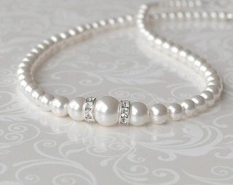 White Pearl Bridal Necklace, Bridesmaid Jewelry, Wedding Necklace, Pearl Strand, Swarovski, Pearl and Crystal Necklace, Pearl Bridal Jewelry