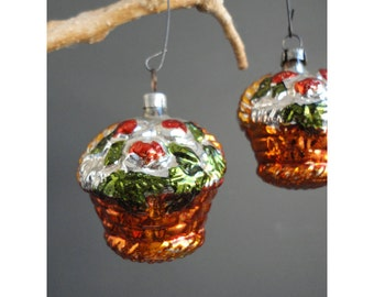 Vintage Mercury Glass Fruit Basket Ornament - Made in West Germany -