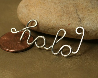 Handmade silver tone HOLA pendant drop connector link charm, one piece (item ID SThola103)
