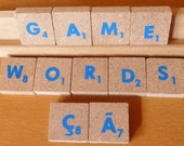 """Scrabble tile 106 blue FAST shipping letters pieces 3/4"""" square foreign language crafts magnets game words names"""