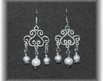 Romantic  Bridal Chandelier Earrings Sterling Silver and White Pearls 814Chand05