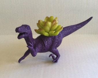 Jurassic Raptor Purple Dinosaur Planter Unique Home Decor