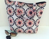 SUMMER CLEARANCE - Canvas Tote Bag - Book Bag - Gray, Orange, White and Black