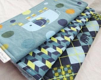 Baby Boy or Baby Girl Burp Cloth Gift Set - Elephants Stomp - New Baby Gift Burp Pad Set