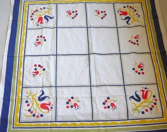 Vintage 50s Square Table Cloth  Atomic Boarder Print MCM Cottage Cabin Decor Floral Blue Yellow Red