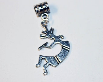 Silver Kokopelli  Lrg Hole Bead Fits All European Style Add a Bead Charm Bracelet Jewelry Pnd-S31B
