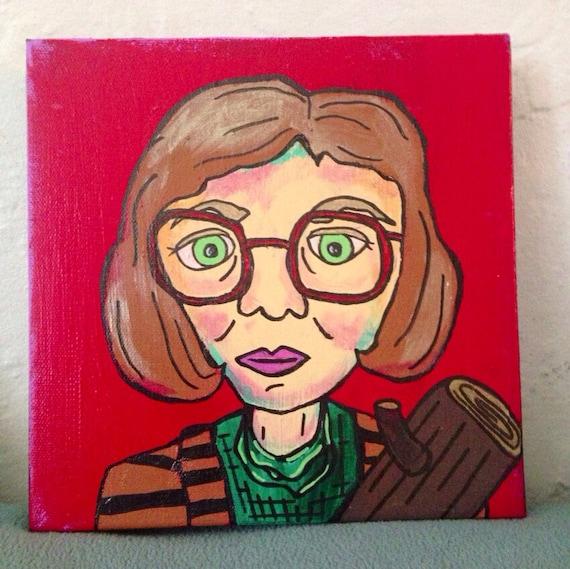Log Lady painting Twin Peaks caricature