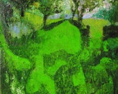 Landscape, surreal dreamlike Spring  scene, bright green grass with trees, oil on canvas 16 x 13