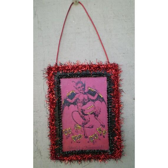 Krampus Valentine ornament decoration retro vintage style holiday devil diablo