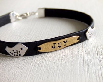 Forever Love Birds Jewelry Bracelet - Personalized Name - Custom Letter - Black Leather Cord - Woodland - Gift for Her - Valentines Day Gift