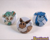 Pokemon Button set - Eevee, Leafeon and Glaceon