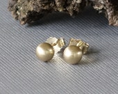 14k Yellow Gold Studs, Textured Gold Studs, 14k Yellow Gold Ball Post Earrings 5mm