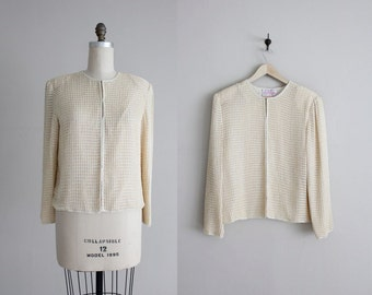 cream beaded jacket / beaded jacket / white beaded jacket