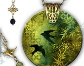 Flying Asian Bird Necklace - Reversible Shimmerz Glass Art Necklace - Voyageur Collection - Asian Jade Bird Kimono Necklace