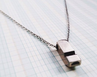 long whistle necklace - silver square