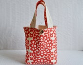 Lunch Bag in Cherry Wallflower - Red and White Floral Mini Tote
