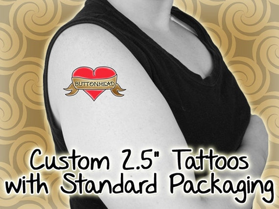 100 custom temporary tattoos 2 5 inch standard by buttonhead for Custom temporary tattoos that look real