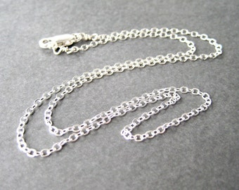 16 inch Flat Cable Chain Necklace, .925 Sterling Silver Chain, Simple Necklace, Lobster Claw Clasp