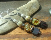 Neutral sage green brown and plum Rustic Stack earrings  Picasso Finish Czech Glass ceramic earrings F