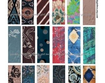 DIgital Collage Sheet - Vintage Fabrics - 1 x 3 Inch Rectangles