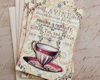 Teacup Notecards - Cozy TeaRoom Notecards - Flat Notecards  - Set of 3