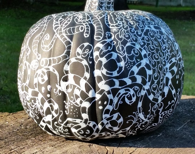 Halloween Spooky Black Pumpkin, Tangled Pumpkin, Fall Decoration