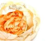 STUNNING Full Double Peony In Light Jasmine Yellow with Glitter Embellishment. was 4.75 - ITEM 0706