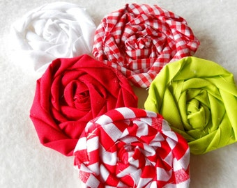 "Christmas Fabric Flowers Rolled Roses Hairclip Peppermint Wedding 5 Rosettes 2"" Photo Prop Birthday Party Wholesale"
