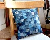 Denim Miniature Patchwork Cushion
