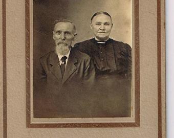 Antique c1880 American Gothic Couple Cabinet Photo/ Evinsville Indiana