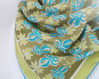 Vintage Designer Vera Graphic Palm Tree Scarf, Mermaid fashion, Avacado Green n Aqua Blue