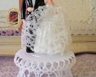 Modern Vintage / Bride and Groom Wedding Cake Topper / Handmade from Vintage Craft Supplies / Heart