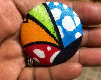 Extra Large Ankara Button Brooch or pin