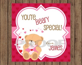 BEAR Valentine Favor Tags / Bear Favor Tags / Valentine Favor Tags / Beary Special Valentine Tags / Valentine Tags / PRINTABLE / Set of 12