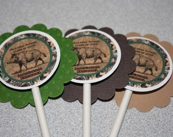 Hunting Cupcake Toppers / Camo Cupcake Toppers / Camouflage Cupcake Toppers / Boar Cupcake Topper / Hunting Birthday / Hunting Party