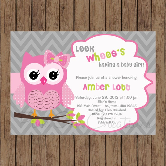 Owl birthday invitation pink gray owl baby shower invitation owl il570xn filmwisefo