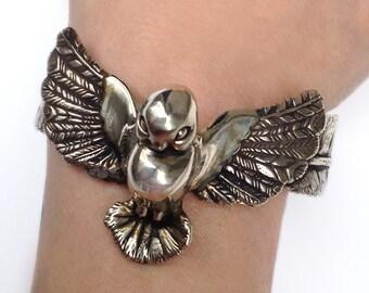 Bird Bracelet     cuff silver gold jewelry