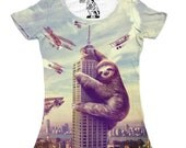 Womens Sloth, Funny Sloths Tshirt, Slothzilla, Women's Tee, Animal shirt, City Monster Tees, Gift for her, Sizes Available S M L XL 2XL