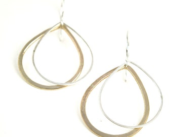 14k Gold Fill Drop Earrings, Flattering Gold Earrings, Simple 14k Earrings, Two Inch Earrings, Gift for Her - Drop Shadow Earrings