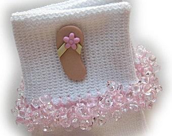 Kathy's Beaded Socks - Pink Flower Sandal socks, button socks, girls socks, sandal socks, pink socks, beach socks, summer socks