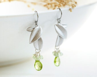 Green Peridot Earrings - August birthstone, silver leaf, bridesmaid earrings, lime green gemstone tear drop, cluster - Artesian
