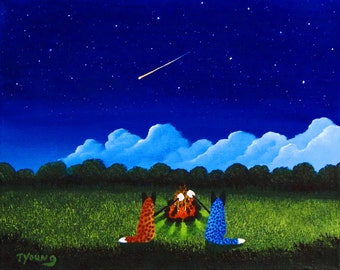 Australian Cattle Dog LARGE folk art print by Todd Young CAMPFIRE